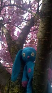 Häkelhase Sammy im Kirschbaum