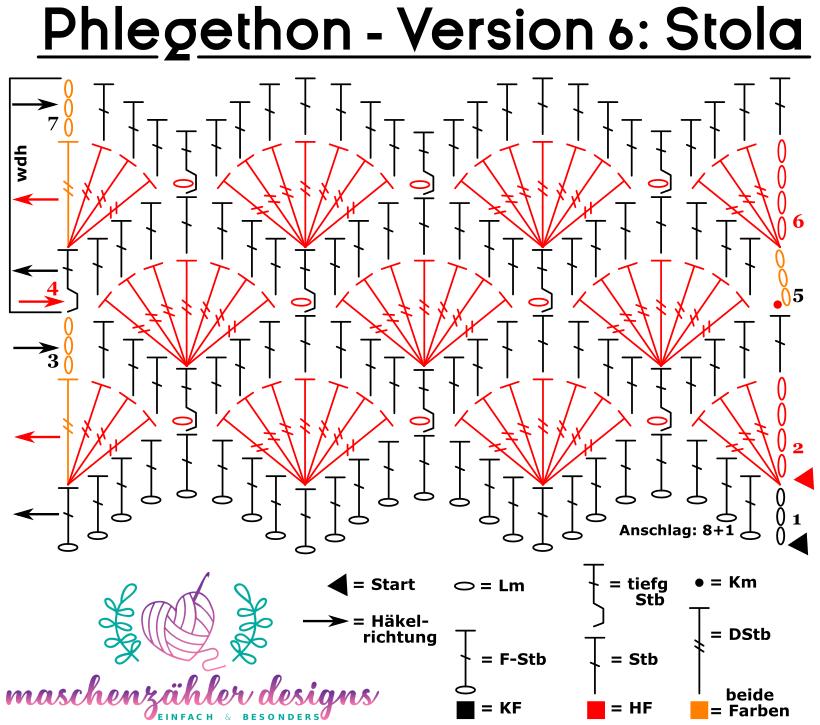 Häkelschrift Phlegethon Version 6: Stola, Schal oder Decke