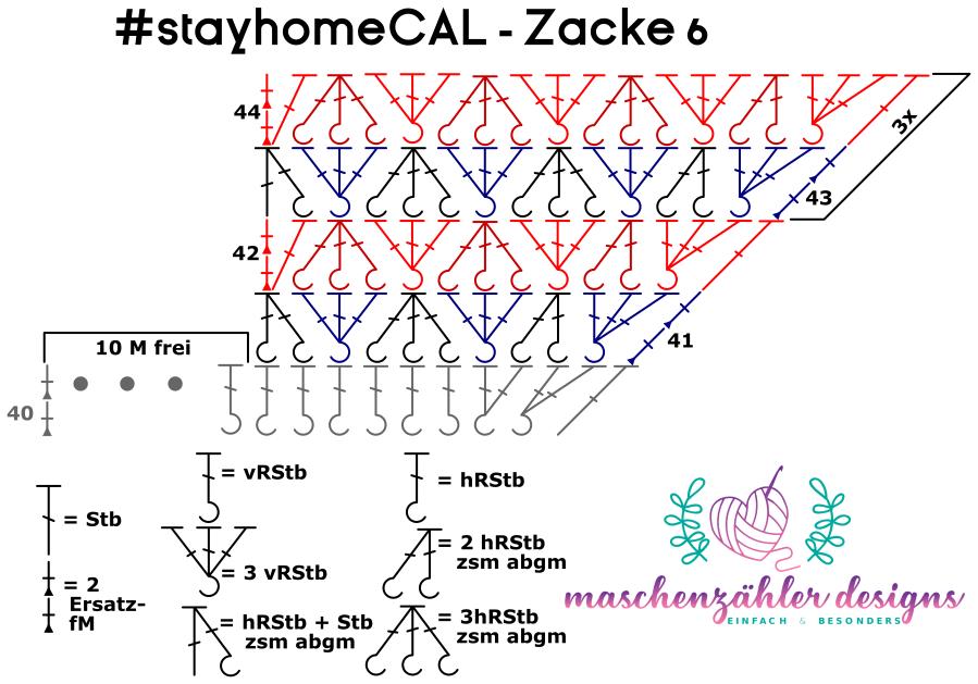 Häkelschrift für die sechste Zacke des #stayhomeCAL