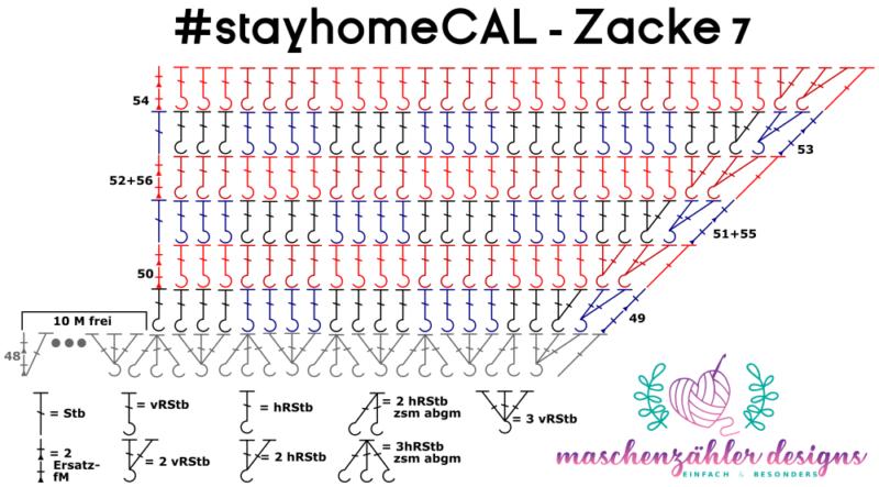 Häkelschrift für Zacke 7 des #stayhomeCAL