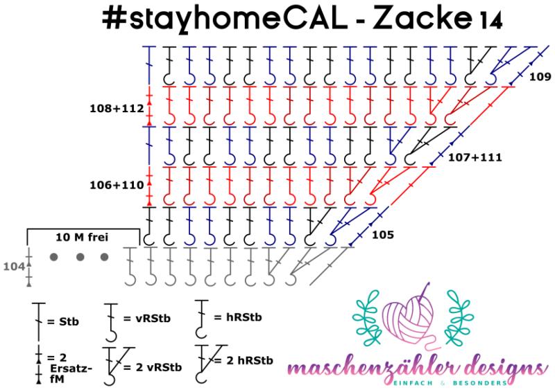 Häkelschrift für Zacke 14 des #stayhomeCAL