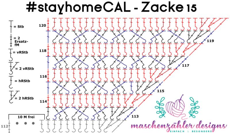 Häkelschrift für die 15. Zacke des #stayhomeCAL