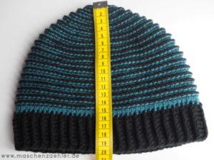 Häkelanleitung Spiralmütze Charybdis - Gesamthöhe der Mütze insg.: ca. 19 - 20 cm; dh. ca 4 cm Bündchen.