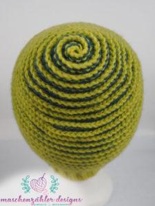 Häkelanleitung Spiralmütze Charybdis - Version 1 - die Spirale von hinten