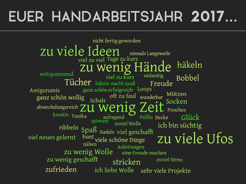 Zusammenstellung der häufigsten Antworten zum Handarbeitsjahr 2017