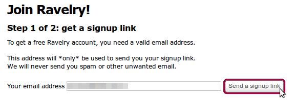 Ravelry-Registrierung EMail angeben