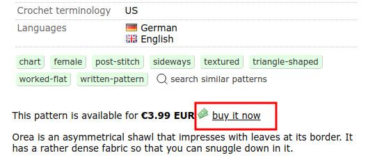 Rabattcode auf Ravelry verwenden - Zunächst die Anleitung in den Einkaufswagen legen.