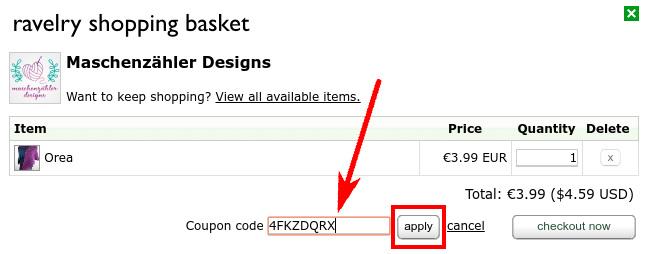 Rabattcode auf Ravelry verwenden: Code eingeben