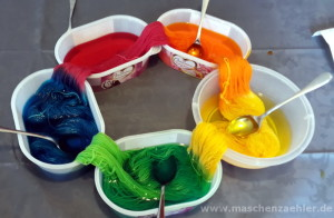 Wolle färben: fließender Farbübergang