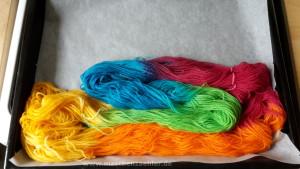 Fixieren der Farben im Backofen