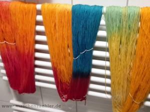 Wolle färben: Stränge trocknen lassen